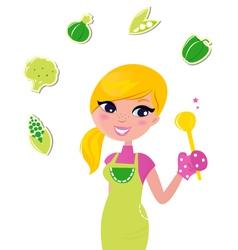 cooking woman preparing healthy green food vector image
