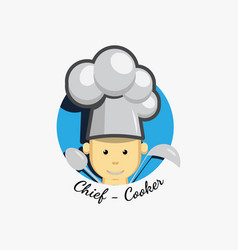 flat icon logo of smiling chief cook vector image