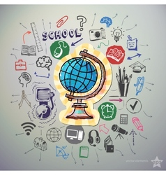Hand drawn education icons set and sticker with vector image