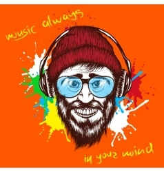 smiling hipster listening a music in headphones vector image
