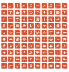 100 tree icons set grunge orange vector