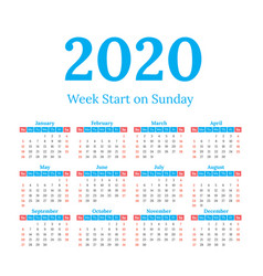 2020 calendar start on sunday vector image
