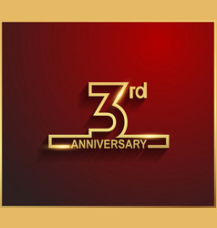 3 anniversary line style golden color vector