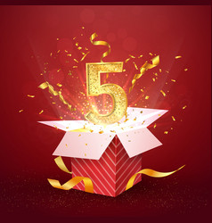 5 th year number anniversary and open gift box vector