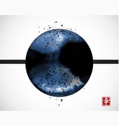 abstract blue ink wash painting big circle on vector image
