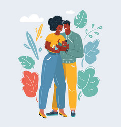 african mother and father with kid vector image