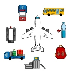 Airport service and aviation icons vector image