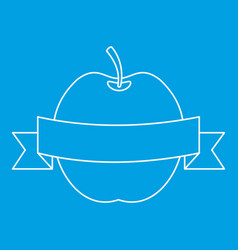 Apple with ribbon icon outline style vector