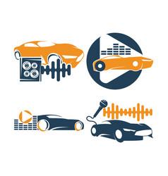 Audio car system logo template set speaker mic vector