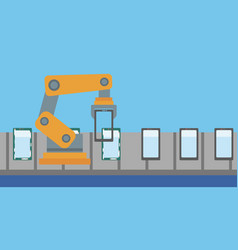 Automated robotic production line of smartphones vector