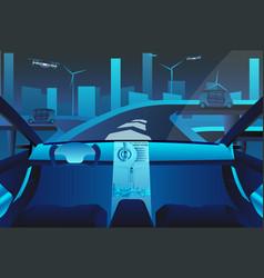 Autonomous self driving car on road vector