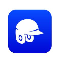 baseball helmet icon digital blue vector image
