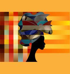 Beautiful african woman in traditional turban vector