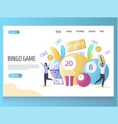 bingo game website landing page design vector image