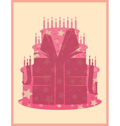 Birthday cake greeting card template vector image