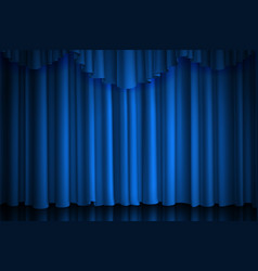 Blue curtain theater cinema or scene drape vector