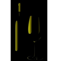 bottle of wine and a glass vector image