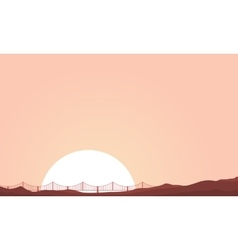 Bridge and hill of landscape silhouettes vector