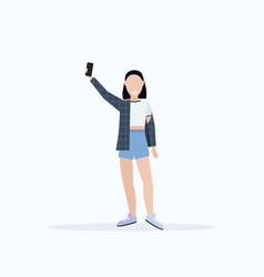 brunette woman taking selfie photo on smartphone vector image