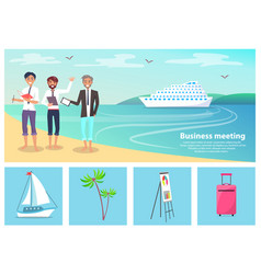 Business meeting men and beach vector