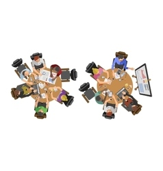 Business people sitting on table vector image
