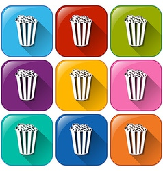 Buttons with popcorns vector image