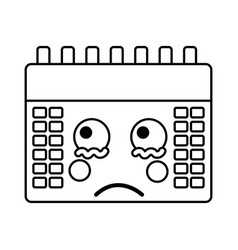 calendar kawaii icon image vector image