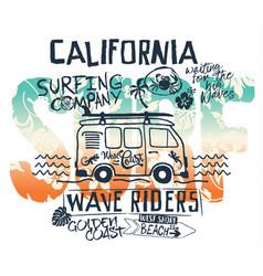 california west coast surfer van vector image
