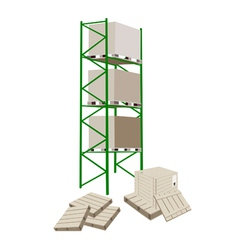 Cargo Shelf in A Warehouse With Shipping Box vector image