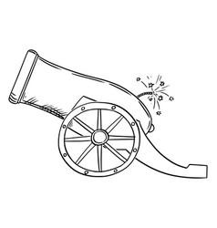 Cartoon old artillery gun or cannon side view vector