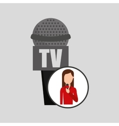 Character woman reporter news microphone tv vector
