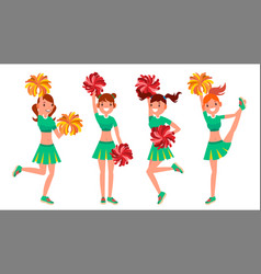 cheerleader girls in action sport fan vector image