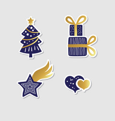 Collection christmas stickers vector