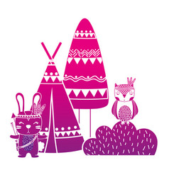 Color silhouette rabbit and owl animal with camp vector