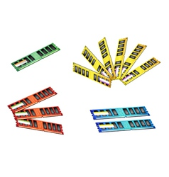 Colorful Set of Computer RAM Icon vector image