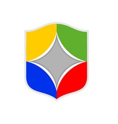 colorful team modern shield symbol logo design vector image