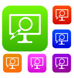 Computer monitor magnifying glass set collection vector