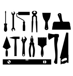 construction tools black silhouettes vector image