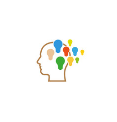 creative abstract human head brain colorful bulbs vector image