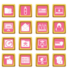 Criminal activity icons pink vector