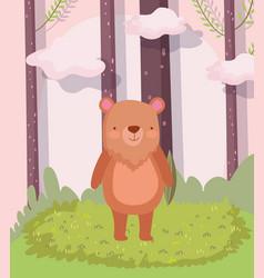 Cute bear animal cartoon character forest foliage vector