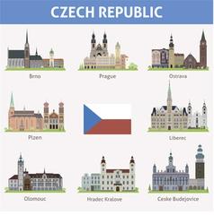Czech symbols cities vector