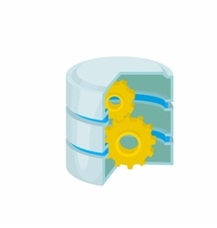 Database with gears icon cartoon style vector