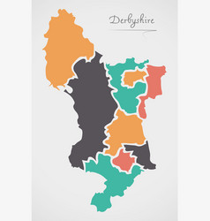 Derbyshire england map with states and modern vector