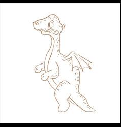 Dino afraid monochrome prehistoric cartoon beast h vector
