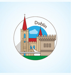dublin ireland detailed silhouette vector image