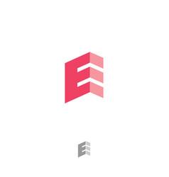 e angle origami monogram letter logo red letter vector image