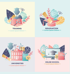 education banners set with various symbols of vector image