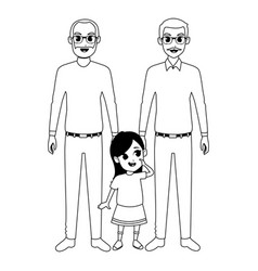 Family grandparents and grandchildren cartoons in vector