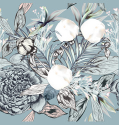 fashion seamless textile pattern with white peony vector image